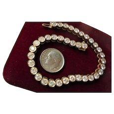 Spectacular 18K Genuine Diamond Tennis Bracelet Bezel Set Yellow Gold Round Cut Diamonds w/ Safety Lock TCW 7.0