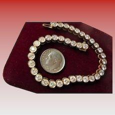 TCW 7.0 18K Genuine Diamond Tennis Bracelet Bezel Set Yellow Gold Round Cut Diamonds w/ Safety Lock