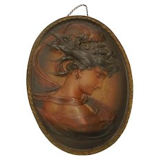Antique Bradley & Hubbard Signed Art Nouveau Lady Wall Plaque Iron