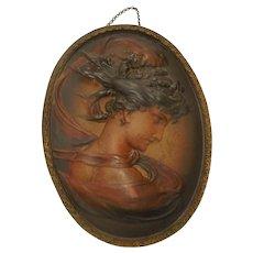 50% Off Sale! Antique Bradley & Hubbard Signed Art Nouveau Lady Wall Plaque Iron
