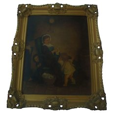 Delightful Antique Oil Painting Mother Knitting with Children Playing Peekaboo Gilt Ornate Frame