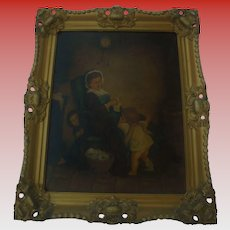 Antique Oil Painting Mother Knitting with Children Playing Peekaboo Gilt Ornate Frame