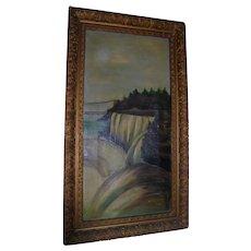 Niagara Falls Antique Original Oil Painting Landscape with Figures Victorian Era