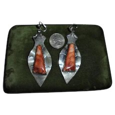 Stunning Native American Spiny Oyster Navajo Vintage Dangling Earrings by Henry Ganadonegro Signed HG Sterling Silver 925