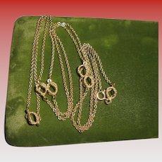 "18 Grams 14K Gold Italian Designer Unoaerre 38"" inch Modernist Geometric Chain Necklace"