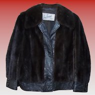 Vintage Mink & Leather Women's Jacket Size Small Petite Mahogany & Black