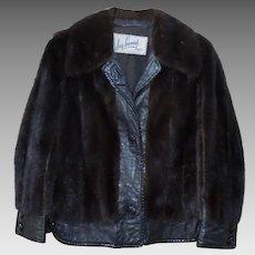 Vintage Mink & Leather Women's Jacket Size Small Petite Mahogany & Black