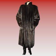 NYC Irish Furrier Mahogany Mink Fur Coat~ Peter Duffy Label ~ Full Length ~Full Sleeves ~Tapered Cuffs Size M - L