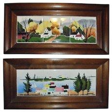 Pair Original Triptych Painted Tiles by Giorgi Manuilov (Russian/ American) Mid Century Mod MCM Seascape Landscape Walnut Wood Deep Frames