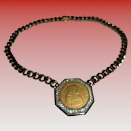24K Gold Plated Ben Amun Signed Gold Plated and Crystal  Coin Pendant Choker Necklace