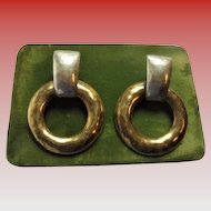 Paris France Designer Fabrice Modernist 1980s Couture Hoop Earrings Hammered Brass