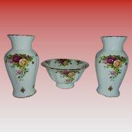 Vintage Royal Albert Old Country Roses Compote Bowl 2 Vases Mantle Table Display Serving Set