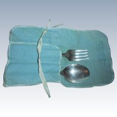 Antique Frank M. Whiting Baby Spoon & Fork Sterling Silver in Original Little Men, Women Pouch
