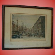 "1830s NYC South Steet Seaport Etching William J. Bennett ""Maiden Lane"" 1834 Original Antique  Framed"
