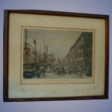 "1830s NYC South Steet Seaport Etching William J. Bennett ""Maiden Lane"" 1834 Original Antique  Framed"