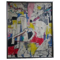 Basquiat School Vintage 1970's POP OP Art Abstract Original Painting Signed Brooklyn Listed Artist