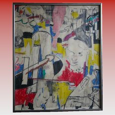 Vintage 1970's POP OP Art Abstract Original Painting Signed Brooklyn Listed Artist