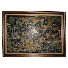 Grand Canal Venice MCM Abstract Oil Painting Signed 1960's Original Large Mid Century Modern Expressionist