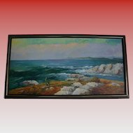 Magnificient California School 4 Ft Wide Cresting Waves Seascape Beach Oil Painting