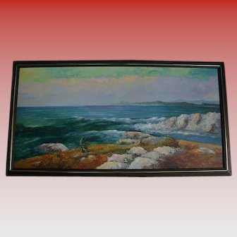 50% Off Sale! Magnificient California School 4 Ft Wide Cresting Waves Seascape Beach Oil Painting