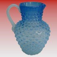 Antique Dew Drop Large Hobbs Brockunier & Co Frosted Blue Dew Drop Water Lemonade Pitcher 1800s Victorian Truly Beautiful