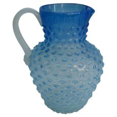 Antique Dew Drop Large Hobbs Brockunier & Co Frosted Blue Dew Drop Hobnail Glass Water Lemonade Pitcher 1800s Victorian Truly Beautiful