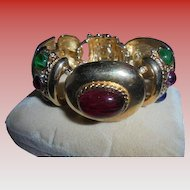Huge Chunky Gripoix Glass Cabochon Mogul Style Massive Link Couture Bracelet jewels of India