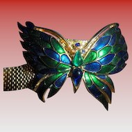 RARE CROWN TRIFARI Enamel Mounted Butterfly Mesh Belt Buckle Bracelet
