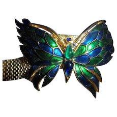 RARE CROWN TRIFARI Enamel Mounted Butterfly Mesh Belt Buckle Bracelet