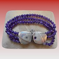 Amethyst & Sterling Multi Strand Beautiful Bracelet Signed M. Zion