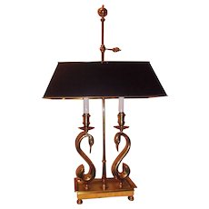 French Bouillotte Brass Swans Candle Holders Figural Lamp with Black Tole Shade