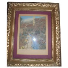 "Wallace Nutting ""Garden of Dreams"" Hand Colored Photograph in Beautiful Ornate Frame"