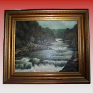 19th C Rhode Island Antique Oil Painting Circle of Edward Mitchell Bannister Charles G Calder Label 19th Century Providence RI Landscape Barbizon