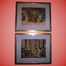 Pair Antique French / German Royalty & Shakespeare Scene Hand Colored Lithographs Framed Beautifully