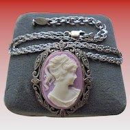 Judith Jack Lavender Cameo Sterling Silver & Marcasite Brooch Pendant Necklace