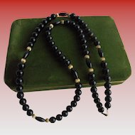 "Long 10K Gold & Onyx Beaded Necklace 27"" inch long"