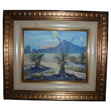 "Emily Fordham El Paso Texas Artist Original Oil Painting ""Yuccas In Bloom"""