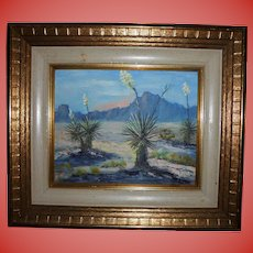 "Emily Fordham El Paso Texas Artist Original Oil Painting ""Yuccas In Bloom"""