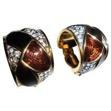 Large Swarovski Pave Set Crystal & Enamel Clip Earrings Swan Mark Signed