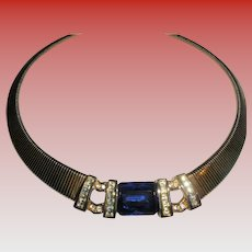 Christian Dior Sapphire Blue Crystal & Embellishments Gold Plated Collar Necklace Emerald Cut Center Signed