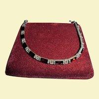Sterling Silver Garnet & Marcasite Tennis Bracelet 925