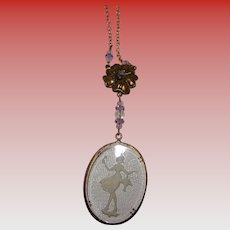Intaglio Glass Cameo Lavaliere Necklace Girl with Ice Cream Cone Holding Basket of Flowers