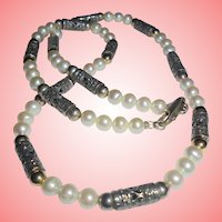 Cultured pearl and Sterling Elongated Beads Necklace