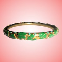 Shamrocks Irish Theme Clampleve Green Enamel Bangle Bracelet St. Saint  Patrick's Day