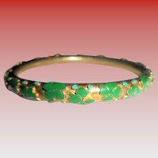 Shamrocks Irish Theme Clampleve Green Enamel Bangle Bracelet St. Saint  Patrick's Day