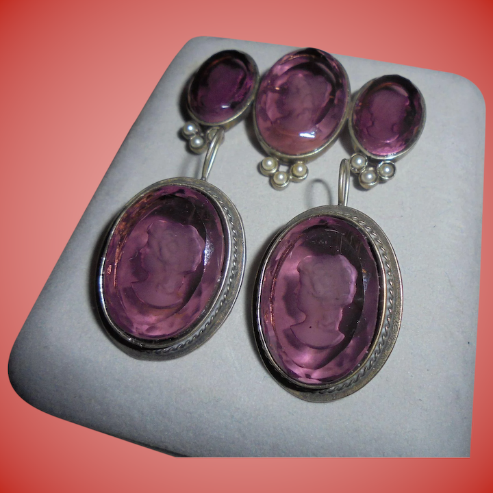 6f436b76a Sterling Silver & Amethyst-Glass Intaglio Cameo Brooch & Pierced Earrings  Set