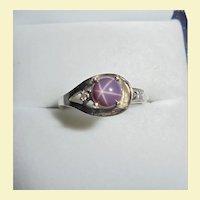 Floral Design 14K Violet Star Sapphire & Diamond White Gold Ring Size 6.5