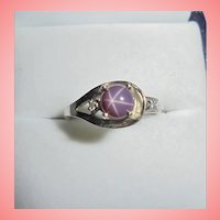Floral Design 14K Violet Star Sapphire & Diamond White Gold Ring Size 6.5