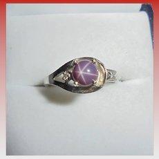 14K Natural Violet Star Sapphire & Diamond White Gold Ring Size 6.5