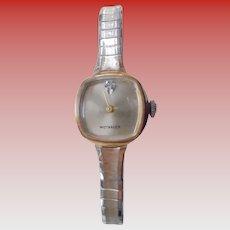 Ladies Wittnauer Diamond on Face Elegant Mid Century Wrist Watch